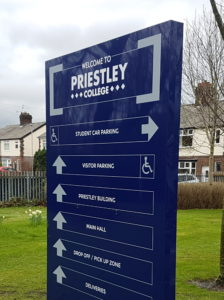 Priestley College way finding totem sign