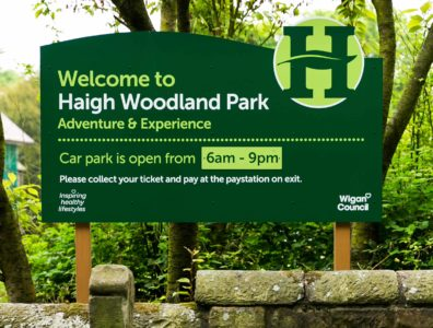Haigh Woodland Park outdoor sign